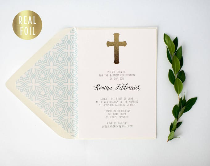gold foil baptism / christening invitation  (sets of 10)  //  gold foil modern boy girl christening baptism modern invite