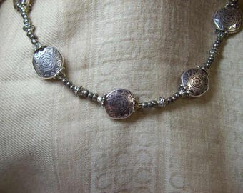 Silver Mayan Suns Necklace and Earrings Set