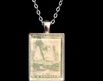 Zion National Park Postage Stamp Necklace