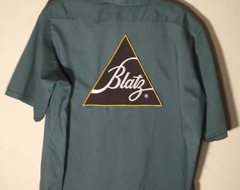 "Super cool Vintage ""BLATZ Beer"" Short Sleeve Workers Button Down Shirt, Made In USA,Has The Cool Name Tony On Front, Men's Size Medium"