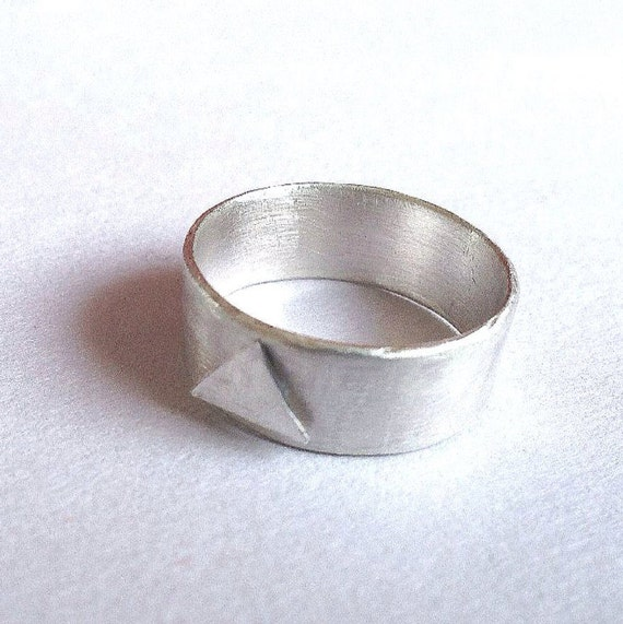 Men's Engagement Ring - Silver Triangle Ring - Alternative Engagement