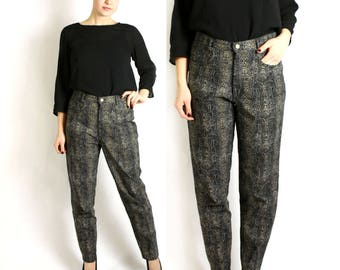 Vintage 80's 90's Italian Snake Print Tapered High Waisted Pants  -