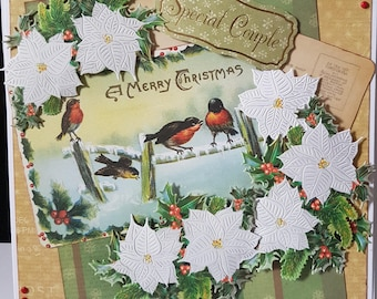 Large Handmade Christmas Poinsettia Card - Mum and Dad, Special Couple, Friends, etc