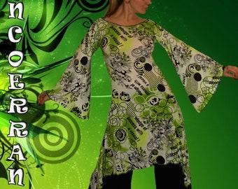 Robe  Tunique   , robe bohème , robe ethnique   , tunique longue  ' Fresh Green...  '