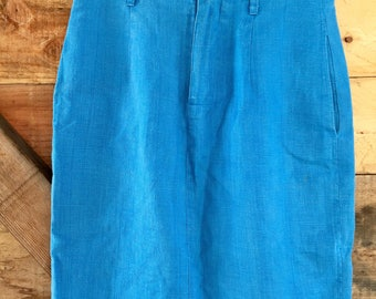 Vintage Saks Fifth Avenue Cobalt Blue Linen Skirt - Small