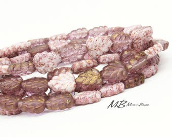20 Pink Luster Birch Leaves, Czech Glass Beads, 10x8mm Beads