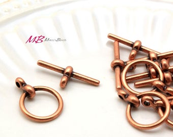 12 Sets Antique Copper Plated Pewter Toggle Clasps, 17mm