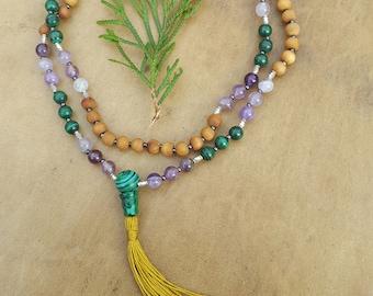 Malachite, Purple Fluorite, Sandalwood Mala