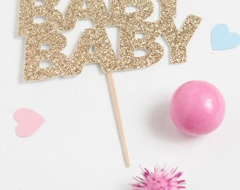 Oh Baby Baby Cupcake Topper, Baby Shower Cupcake Topper, Baby Shower Party Picks, Gold Glitter Baby Shower