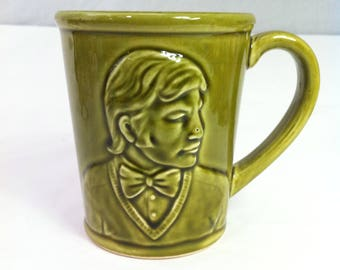 Michael York Green Moustache Coffee Cup — c1960/70s