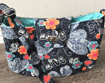 Large Handbag, Shoulder Bag, Purse, Crossbody Bag, in Butterflies and Flowers Fabric with Adjustable Shoulder Strap - Made in Maui