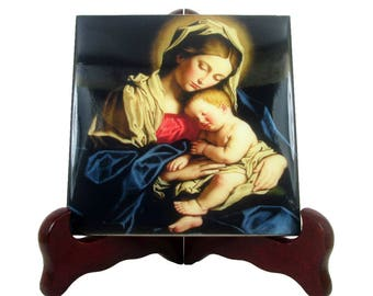 Catholic art - Virgin and Child - religious icon on ceramic tile - handmade in Italy Madonna and Child Virgin and Child art catholic craft