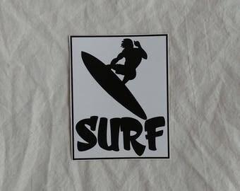 "Surf sticker, 4 1/2"" x 3 1/2"", gloss vinyl, weatherproof"
