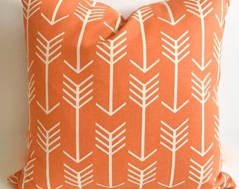 Orange pillow cover, 16x16, Orange throw pillow, Decorative pillow, Arrow pillow, Cushion cover, Couch pillow, Toss pillow, Sofa pillow