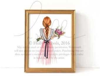 Bouquet (Choose your hair color/skintone) Fashion Illustration print
