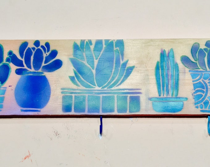 Entryway wall decor coat rack custom storage organization wall hanging cactus succulent art colorful hooks key holder mudroom organizer