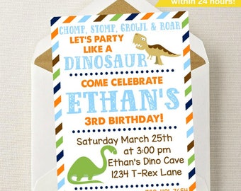 Dinosaur Birthday Invitation // Dinosaur Invitation // Dinosaur Birthday Party // Dino Invite // Dino Party // Chomp Stomp Growl Roar / Dino