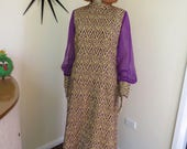 70s vintage gold & purple maxi dress - by David's - elegant stunner super groovy