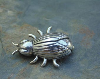 Sterling Silver Small Detailed Beetle Pin / Brooch