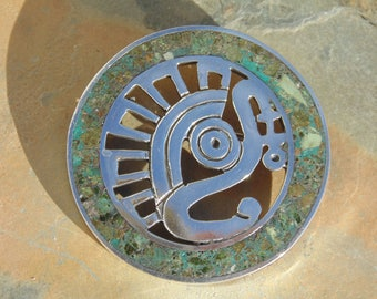 Miguel Melendez ~ Vintage Taxco Round Sterling Silver and Crushed Green Stone Aztec War Eagle Pin / Brooch