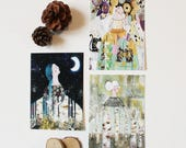 """Lot de 3 Cartes postales """" Goddess & Nature"""", 10,5x14,7cm"""