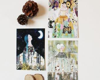 "Set of 3 cards postcards ""Goddess & Nature"", 5, 10 x 14, 7cm"