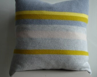 Knitted Cushion / Throw Pillow knitted in lambswool colour yellow grey / gray /putty stripes