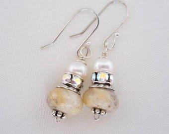 Pearl Earrings, Dangle Earrings, Bridal Earrings, White and Cream Pearl Earrings