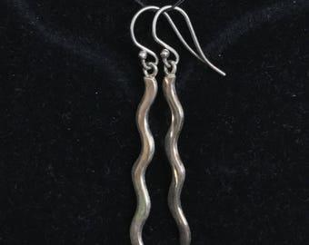 Sterling silver wavy earrings
