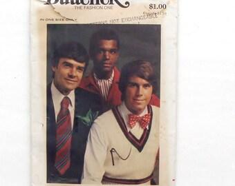 Vintage 70's Butterick Men's Fashion Accessories Pattern #3417 - Bow Tie, Ascot, Pocket Handkerchief and Tie