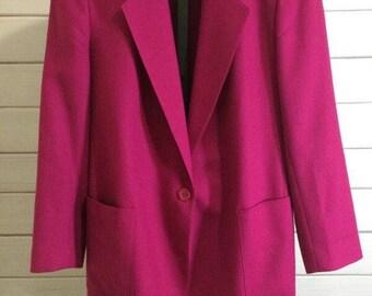 Kristy Allan Pink Fuschia Vintage 80s Blazer