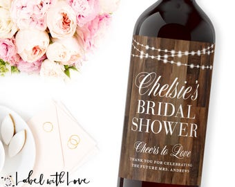 Rustic Bridal Shower Wine Labels  - Personalized Bachelorette Champagne Bottle Label - Wood Hens Party Label