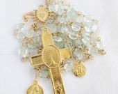 Rosary - Aquamarine - Eucharist Mary Magdalene & Saintes Maries - 18K Gold Vermeil