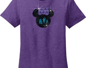 Haunted Mansion Hitchhiking Ghosts Glitter Shirt/Disney Minnie Mouse Glitter Women's Shirt/Halloween Haunted Mansion Minnie Bow Shirt