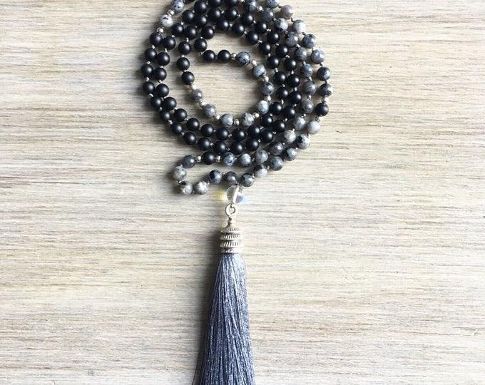 Labradorite Onyx Opal Tassel Mala Beads, 108 Mala, Gemstone, Handmade, Hand-knotted, Meditation, Yoga, Prayer Beads, Chakra