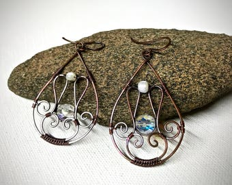 Copper Wire Wrapped Filigree Earrings