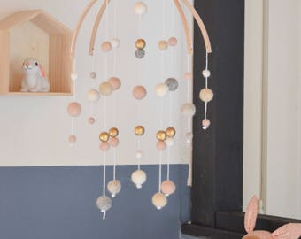 Gold, pale pink and white mobile baby girl nursery decor