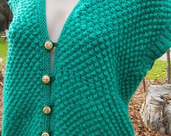 Vintage hand made Emerald green button front  knit vest cardigan