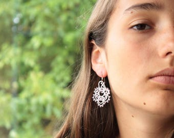 Earrings white and pink crystal delicate handmade lace France feminine, silver findings, earrings original, lace earrings, Hypoallergenic,