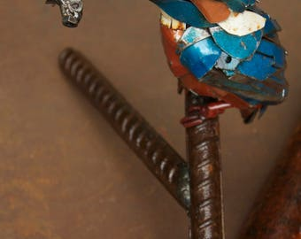 Kingfisher Sculpture - Scrap Metal - Unique Artwork - European Kingfisher, Bird Sculpture, Metal Kingfisher