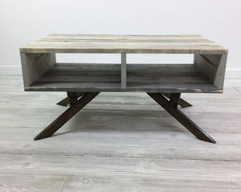 Rustic Coffee Table U2022 Pallet Style Table U2022 Mid Century Table U2022 Open Coffee  Table