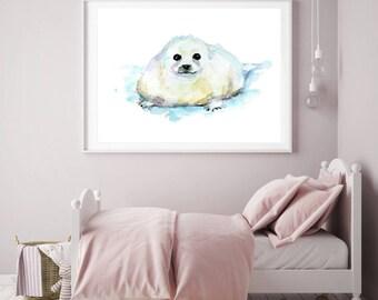 Baby Seal art - seal Watercolor painting - Art Print - yellow blue Nursery Animal Painting - baby seal illustration - animal decor