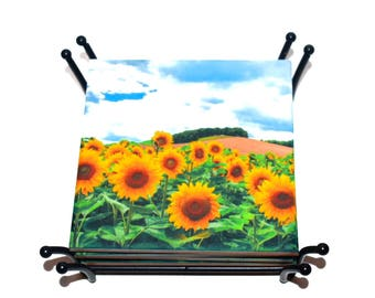 Valentines Day Sunflower Coasters /  California / Sold in a Set of 4 or Mix & Match / Sunflower Lovers Gift