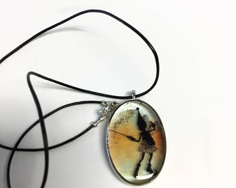 Fairy pendant necklace, magic fairy silhouette jewelry, translucent pendant, fairy jewelry, silhouette jewelry, resin necklace, gift for her