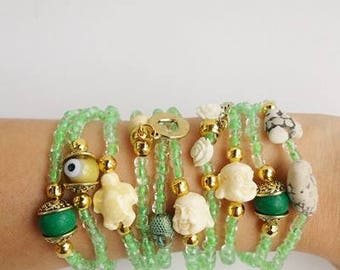 stacking bracelets - friendship bracelets - stretch bracelet - beaded bracelet - gift for her - beije buddha - green bracelet - boho for her