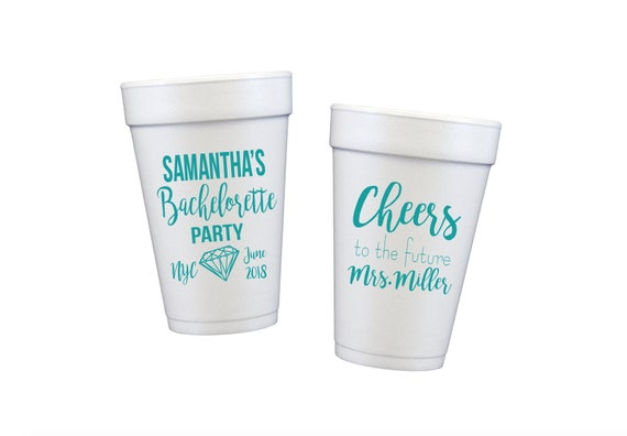 Bachelorette party cups, nyc bachelorette weekend, party favor cups, cheers to the future mrs, personalized wedding cups, custom foam cups