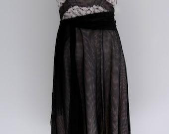 90s does 50s halter Dress / 90s Goth Dress / 90s party dress / Laundry by Shelli Segal / CarnivalofFashion