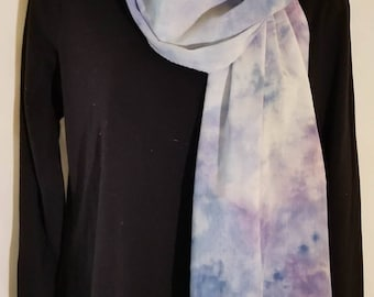 Hand dyed, Ice dyed, Tie dyed, Cotton Scarf, Purples and Blues, Unique, lightweight Scarf
