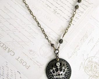 Crown Pendant Necklace, Crown Necklace, Crown Pendant, Coin Necklaces, Coin Crown Necklace, Rhinestone Crown Necklace, Royal Crown Necklace