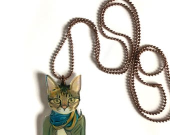 Tel Aviv Bohemian Hipster Cat Wearing a Scarf & Jacket, Cool, Funny,Acrylic, Plastic, Animal Necklace -Great Gift for Cat Lovers